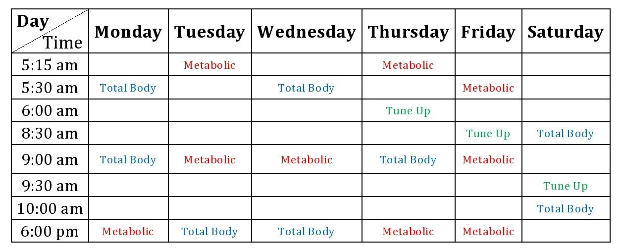 Training schedule   Fitness ja Terveellinen syöminen